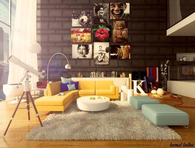 ferah Renkli Oturma Odası Dekorasyonu